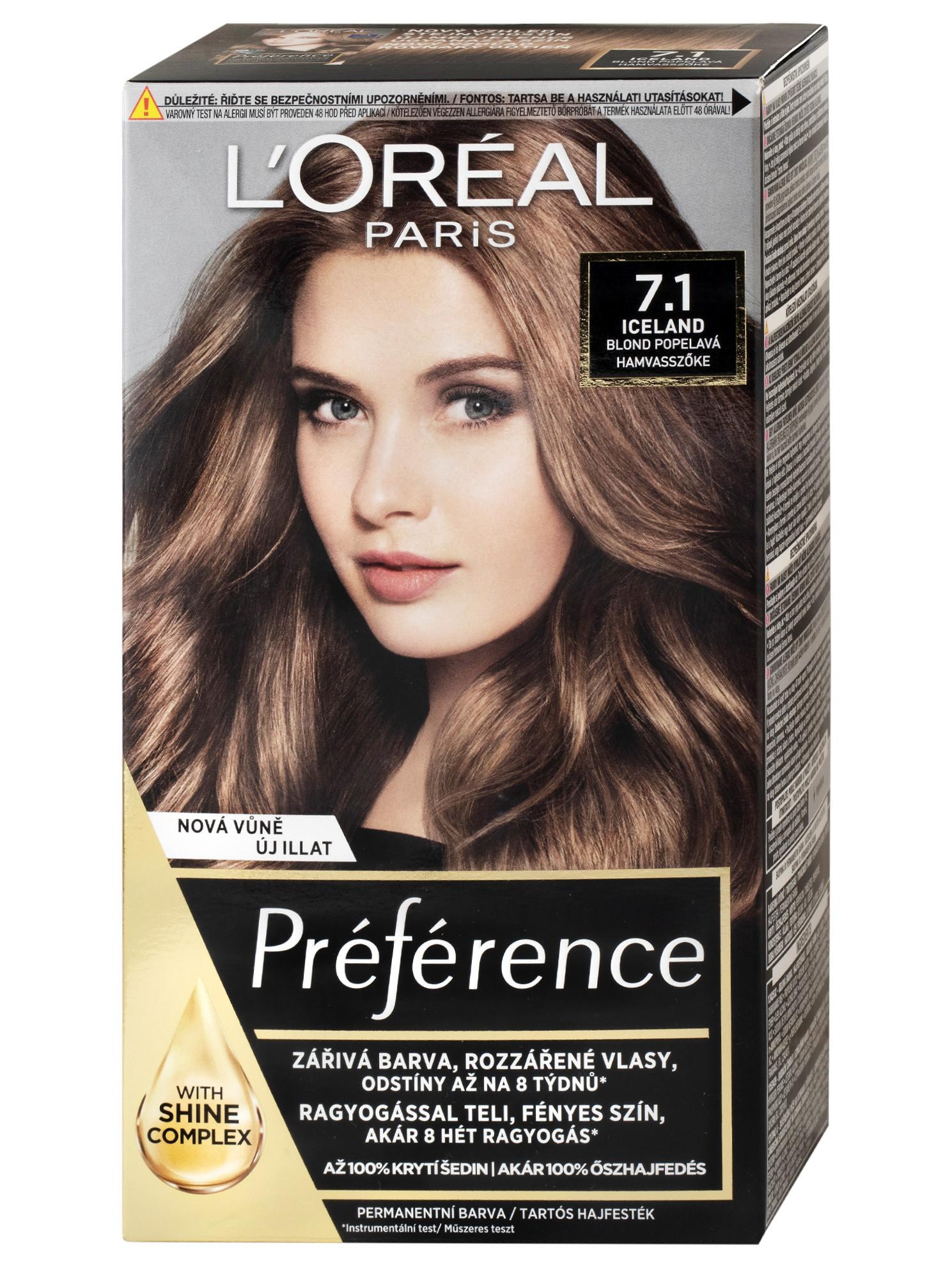 Permanentní barva Loréal Préférence 7.1 blond popelavá + DÁREK ZDARMA