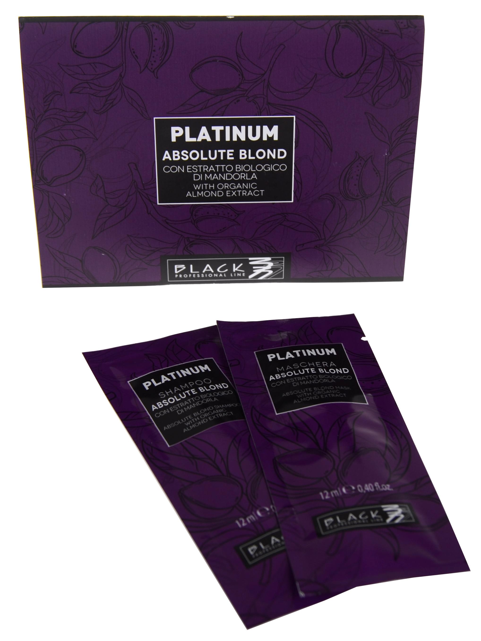 Šampon a maska pro melírované vlasy Black Platinum Absolute Blond - 2 x 12 ml (250032)