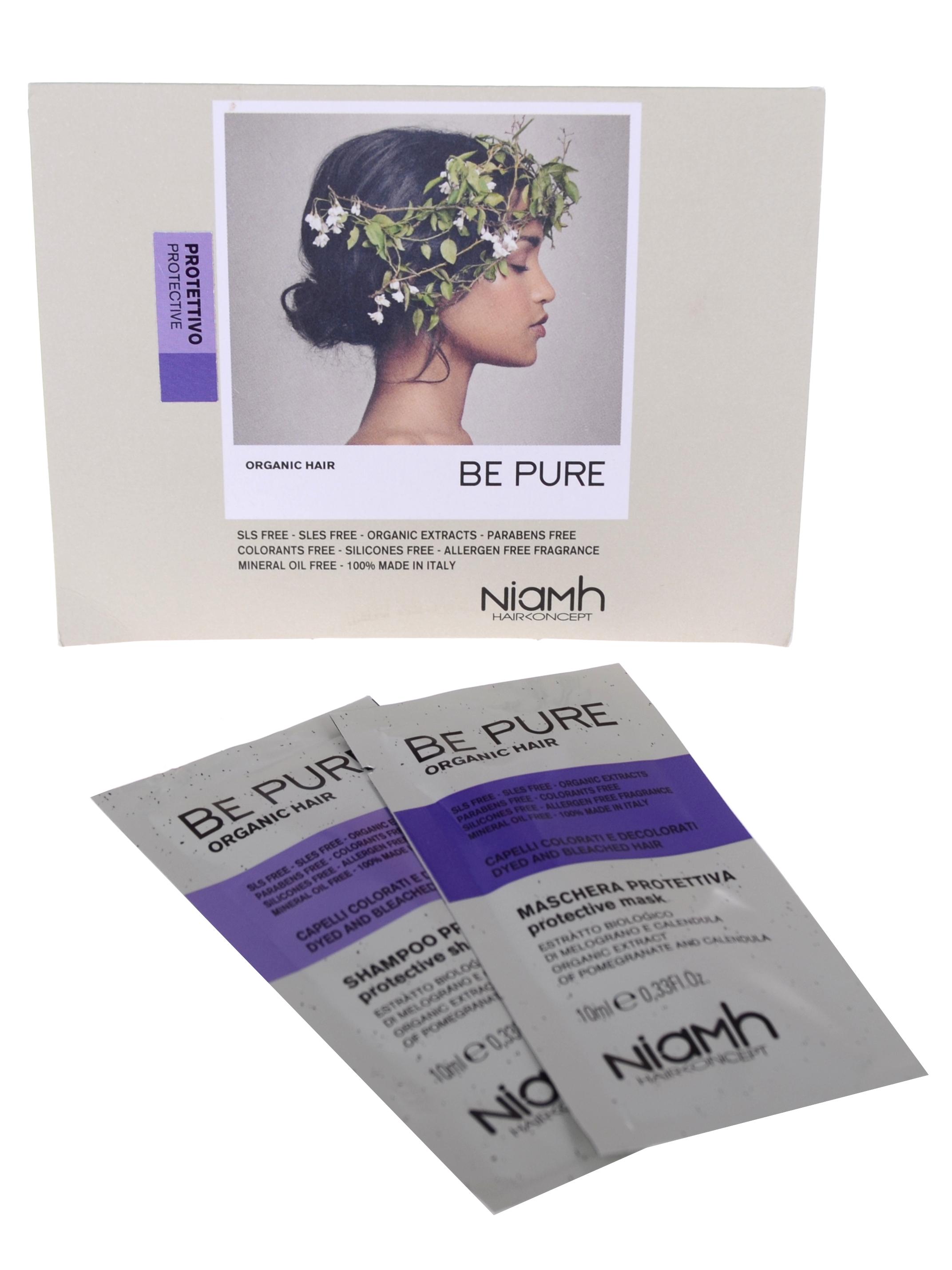 Šampon a maska pro barvené vlasy Niamh Be Pure Protective - 2 x 10 ml (OPUB146)