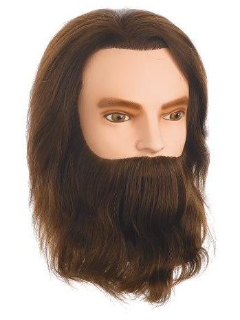 Cvičná hlava pánská s přírodními vlasy a vousy KARL, Sibel - 15 - 25 cm (0030731) + DÁREK ZDARMA