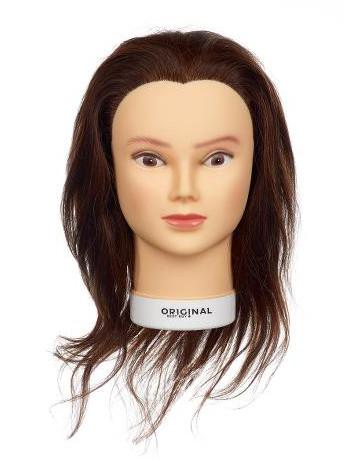 Cvičná hlava dámská s přírodními vlasy VALESKA, Original Best Buy - kaštanová 15 - 40 cm (0030221) + DÁREK ZDARMA