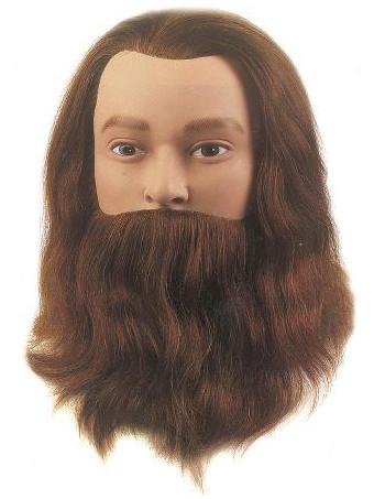 Cvičná hlava pánská s přírodními vlasy a vousy LEIF, Sibel - 20 - 25 cm (0041001) + DÁREK ZDARMA