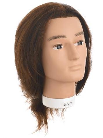 Cvičná hlava pánská s přírodními vlasy BOBBY, Sibel - 15 - 25 cm (0030631) + DÁREK ZDARMA