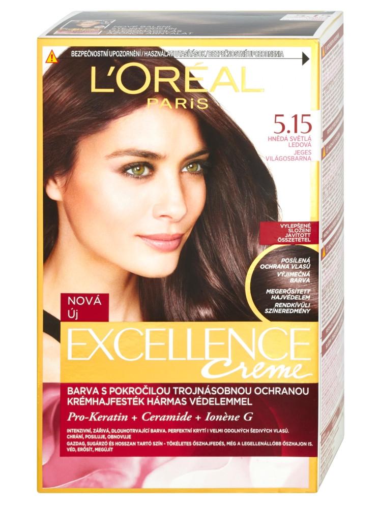 Permanentní barva Loréal Excellence 5.15 hnědá evětlá ledová - L'Oréal Paris + DÁREK ZDARMA