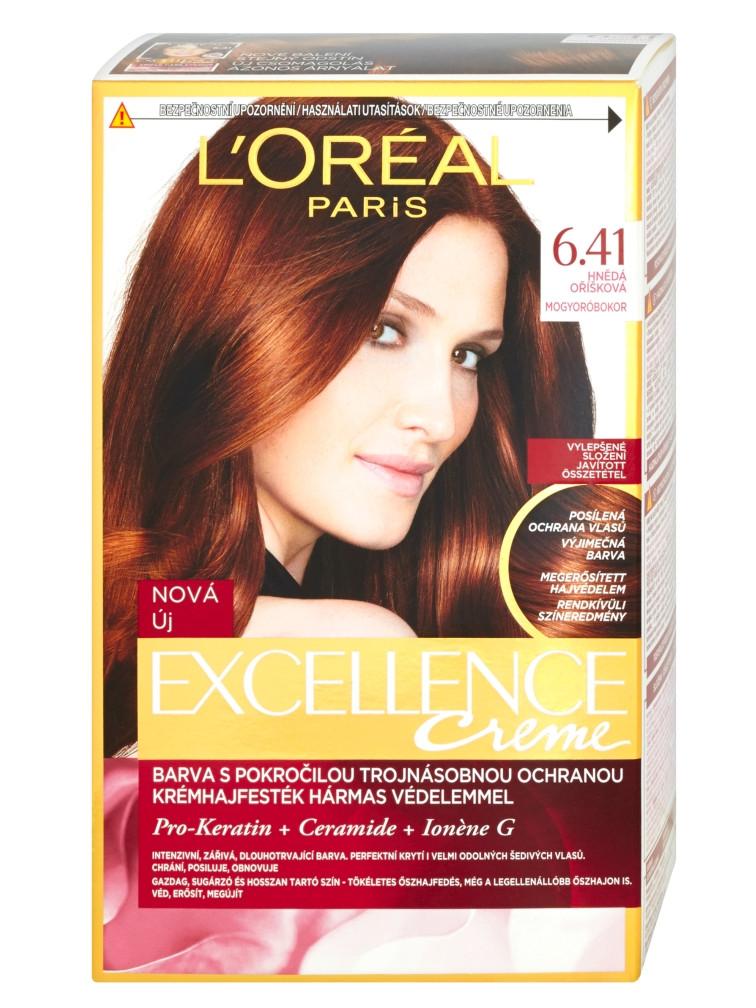 Permanentní barva Loréal Excellence 6.41 hnědá oříšková 6b3fede7eb3