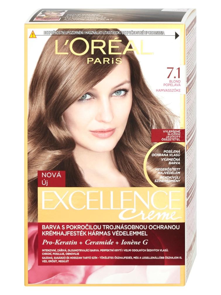 Permanentní barva Loréal Excellence 7.1 blond popelavá