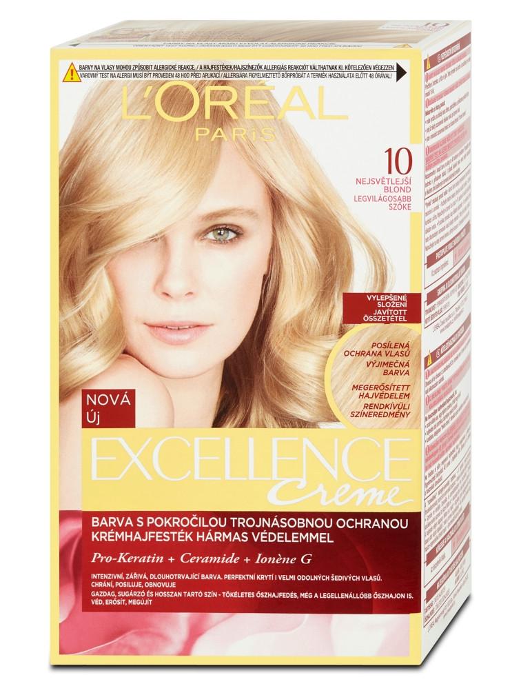 Permanentní barva Loréal Excellence 10 nejsvětlejší blond
