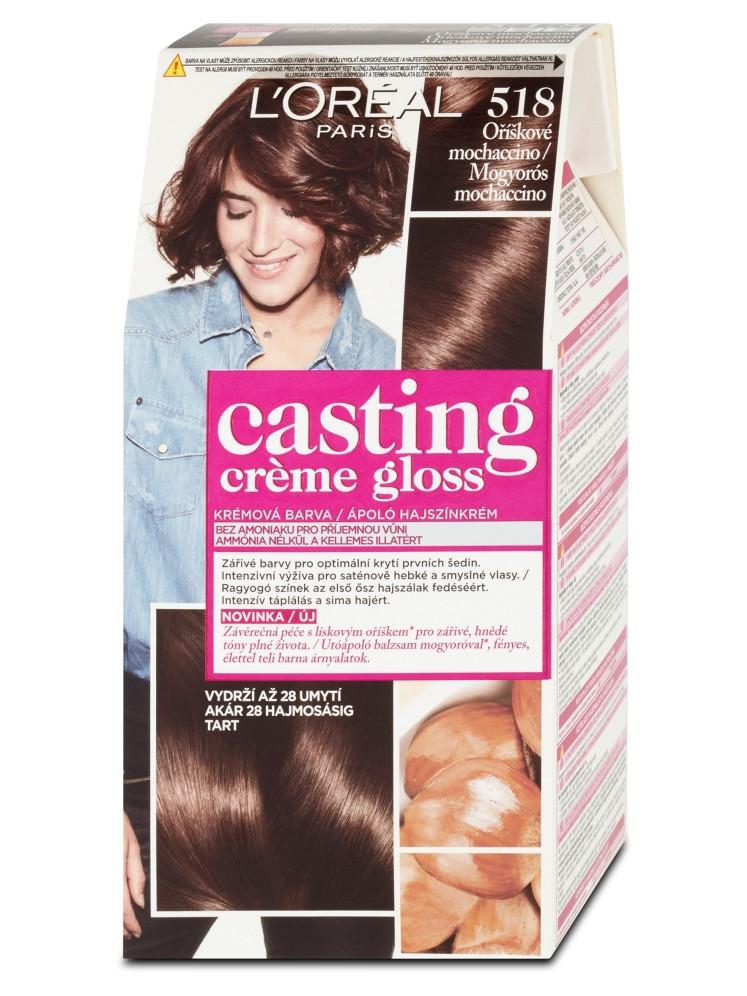 Přeliv bez amoniaku Loréal Casting Créme Gloss - 518 oříškové mochaccino