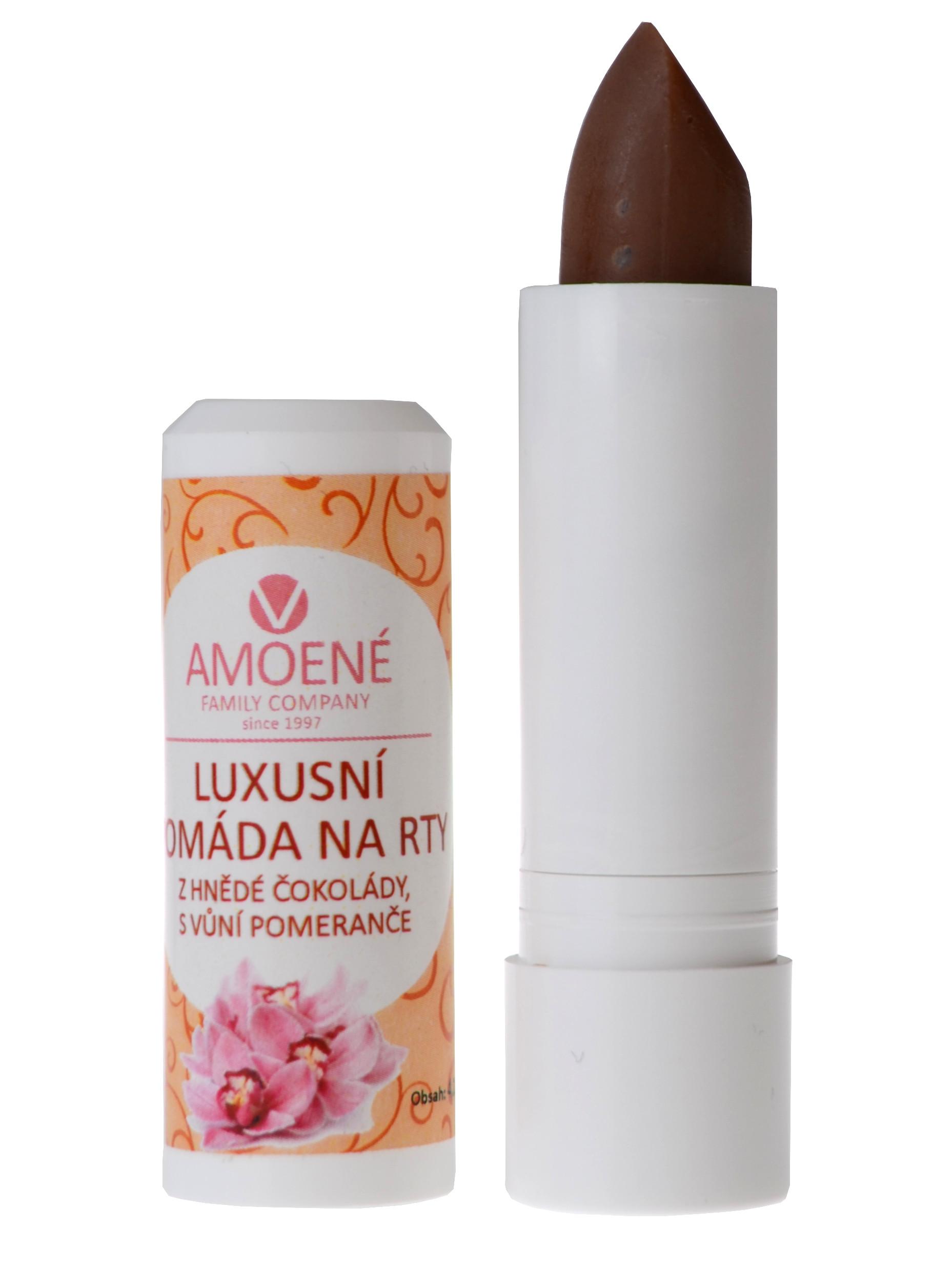 Pomáda na rty, Amoené luxusní hnědá čokoláda s pomerančem - 4,2 g (0125P00000)