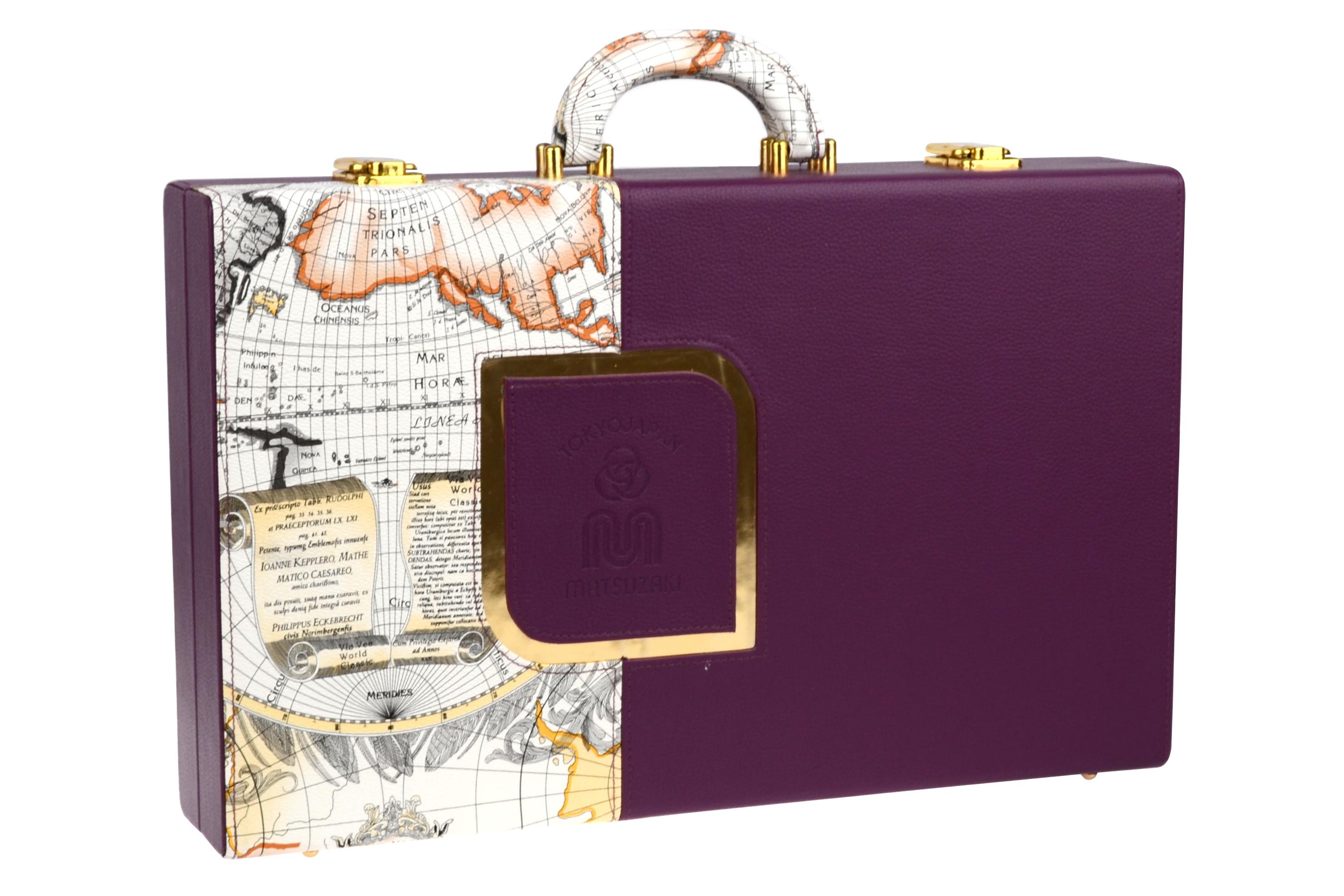 Kadeřnický kufr Matsuzaki - fialový (800118) + DÁREK ZDARMA