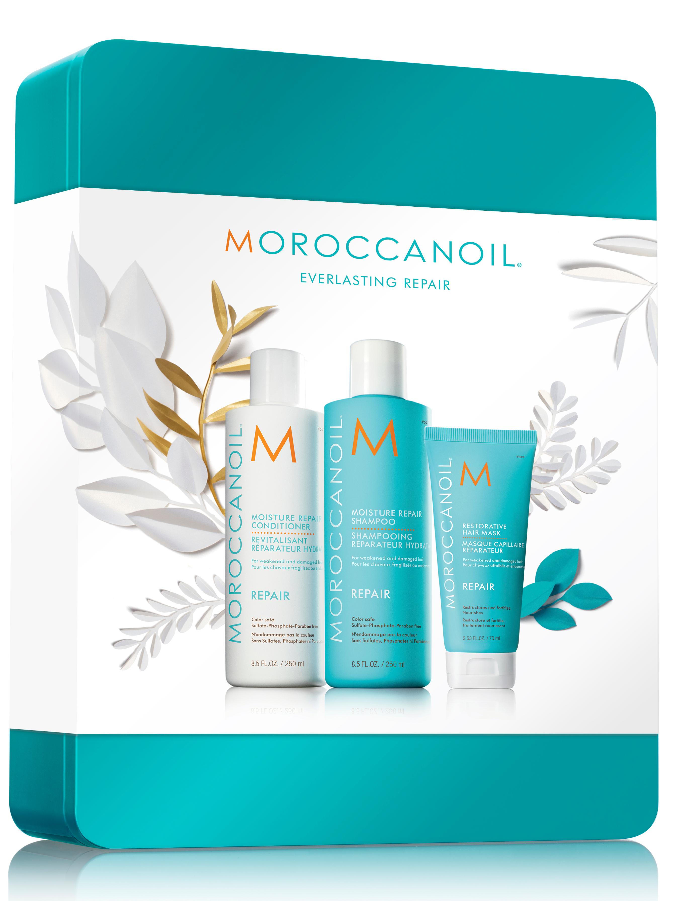 Dárková sada v plechové krabičce pro poškozené vlasy Moroccanoil Repair (MOXMMR18) + DÁREK ZDARMA