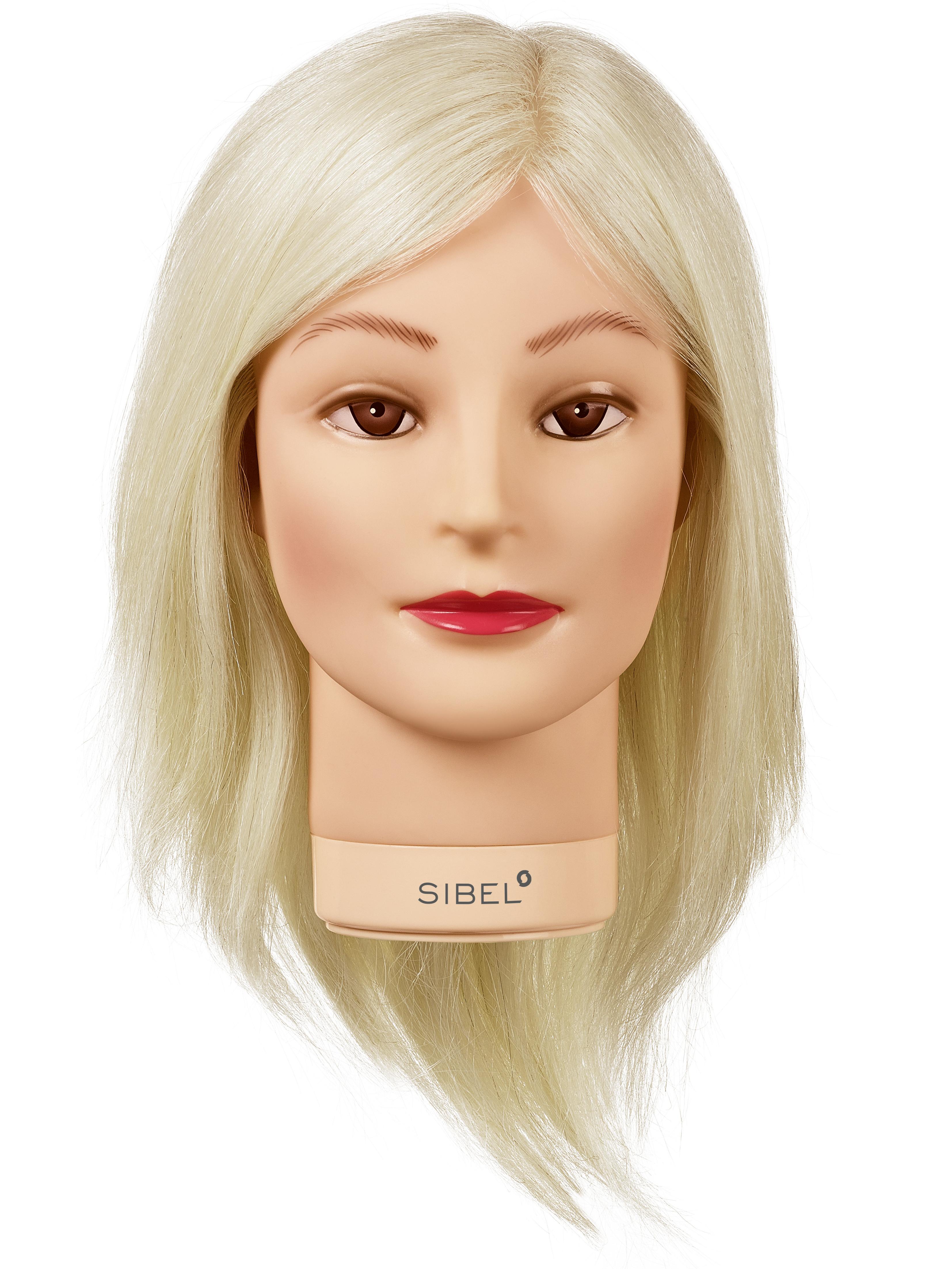 Cvičná hlava dámská s přírodními vlasy BLONDY, Sibel - blond 20 - 30 cm (0040311) + DÁREK ZDARMA
