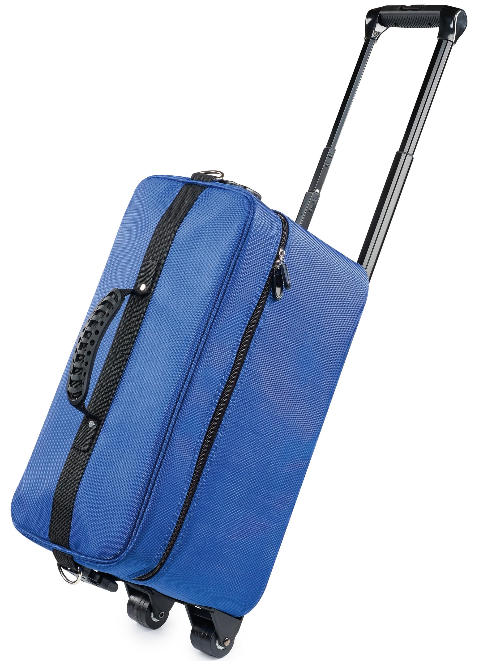Kadeřnický kufr Sibel na kolečkách - modrý (6600582) + DÁREK ZDARMA