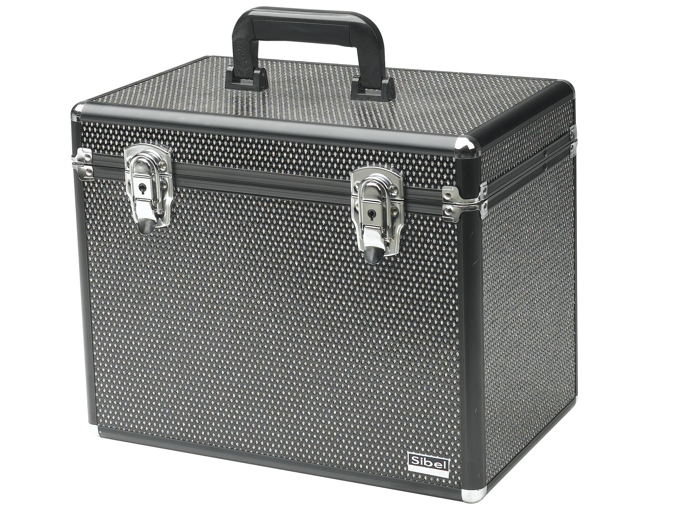 Kadeřnický a kosmetický kufr Sibel - černý (0150591) + DÁREK ZDARMA