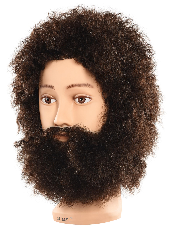 Cvičná hlava pánská s přírodními vlasy a vousy GUSTAV, Sibel - 20 cm (0041002) + DÁREK ZDARMA