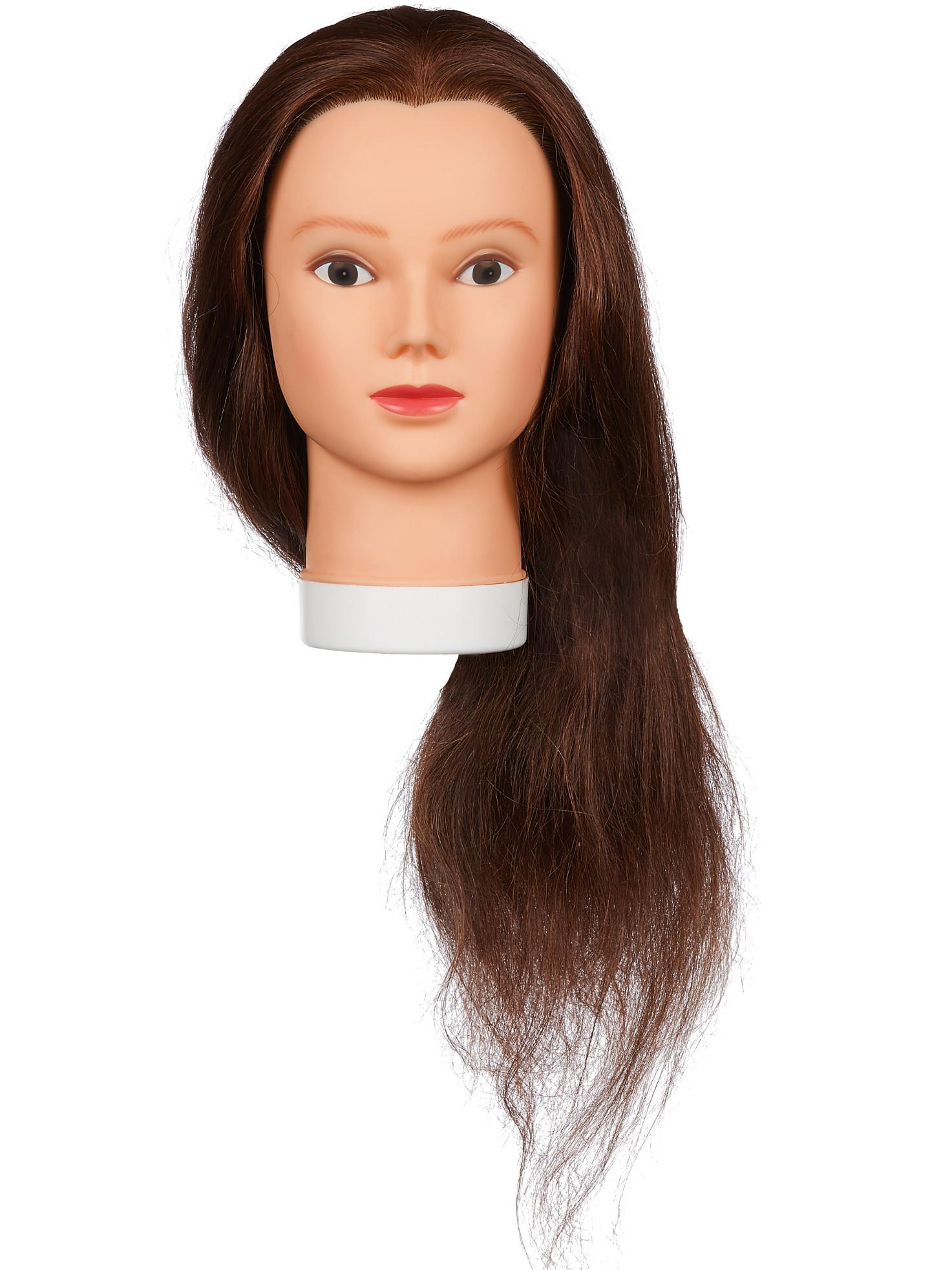 Cvičná hlava dámská s přírodními vlasy ELENA 60, Original Best Buy - hnědé 20 - 60 cm (0030261) + DÁREK ZDARMA