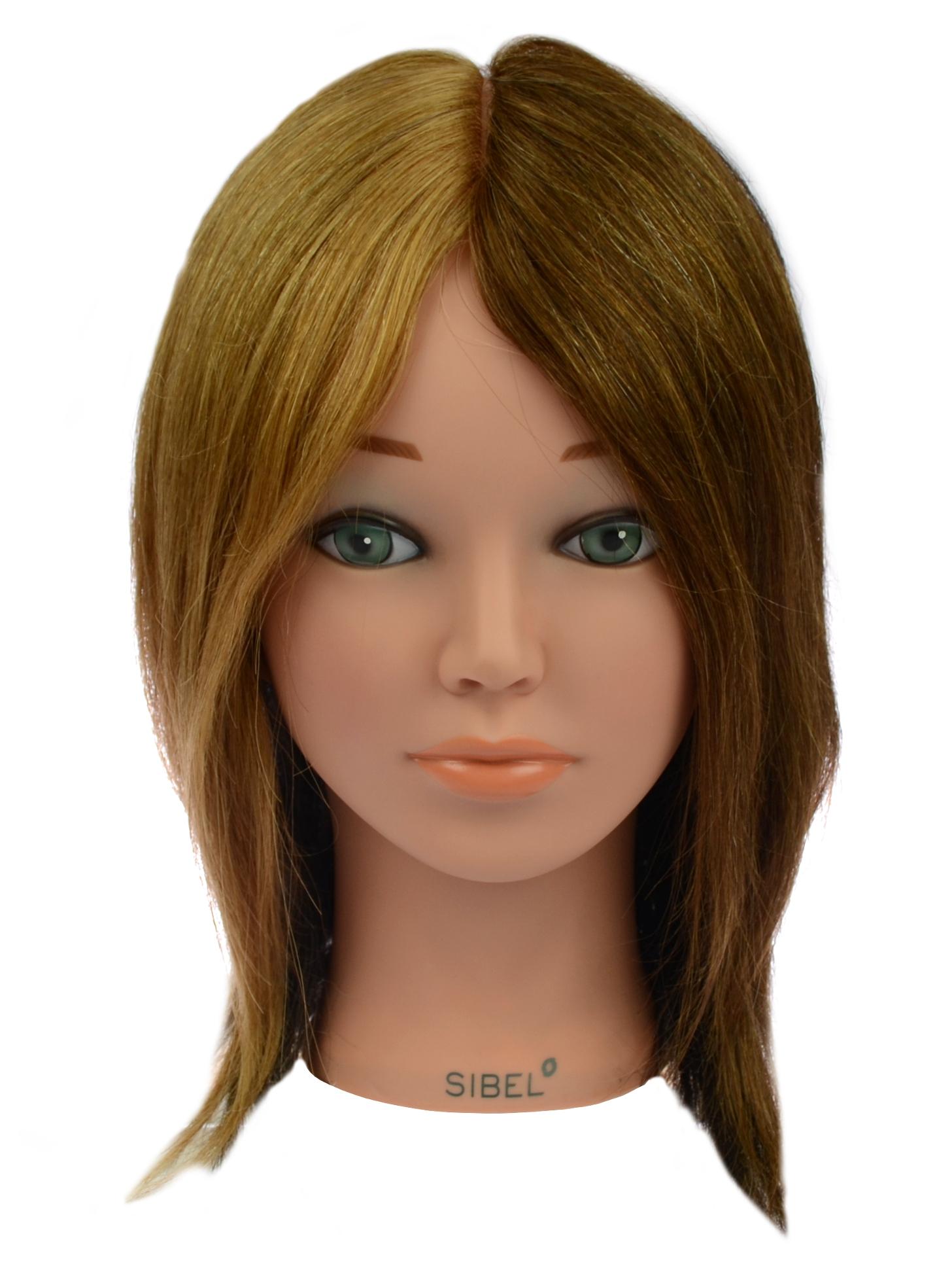 Cvičná hlava dámská s přírodními vlasy 4 Colors, Sibel - 15 - 25 cm (0040441) + DÁREK ZDARMA