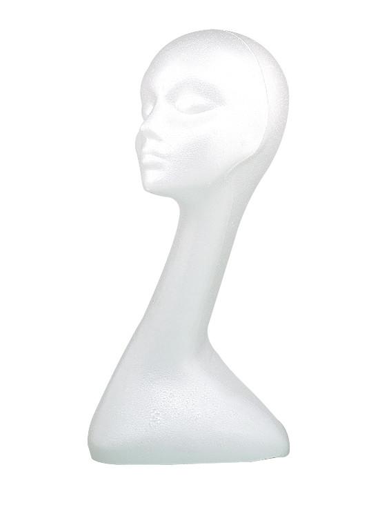 Manekýna pro paruky s prodlouženým krkem Sibel - žena, bílá (4490200) + DÁREK ZDARMA