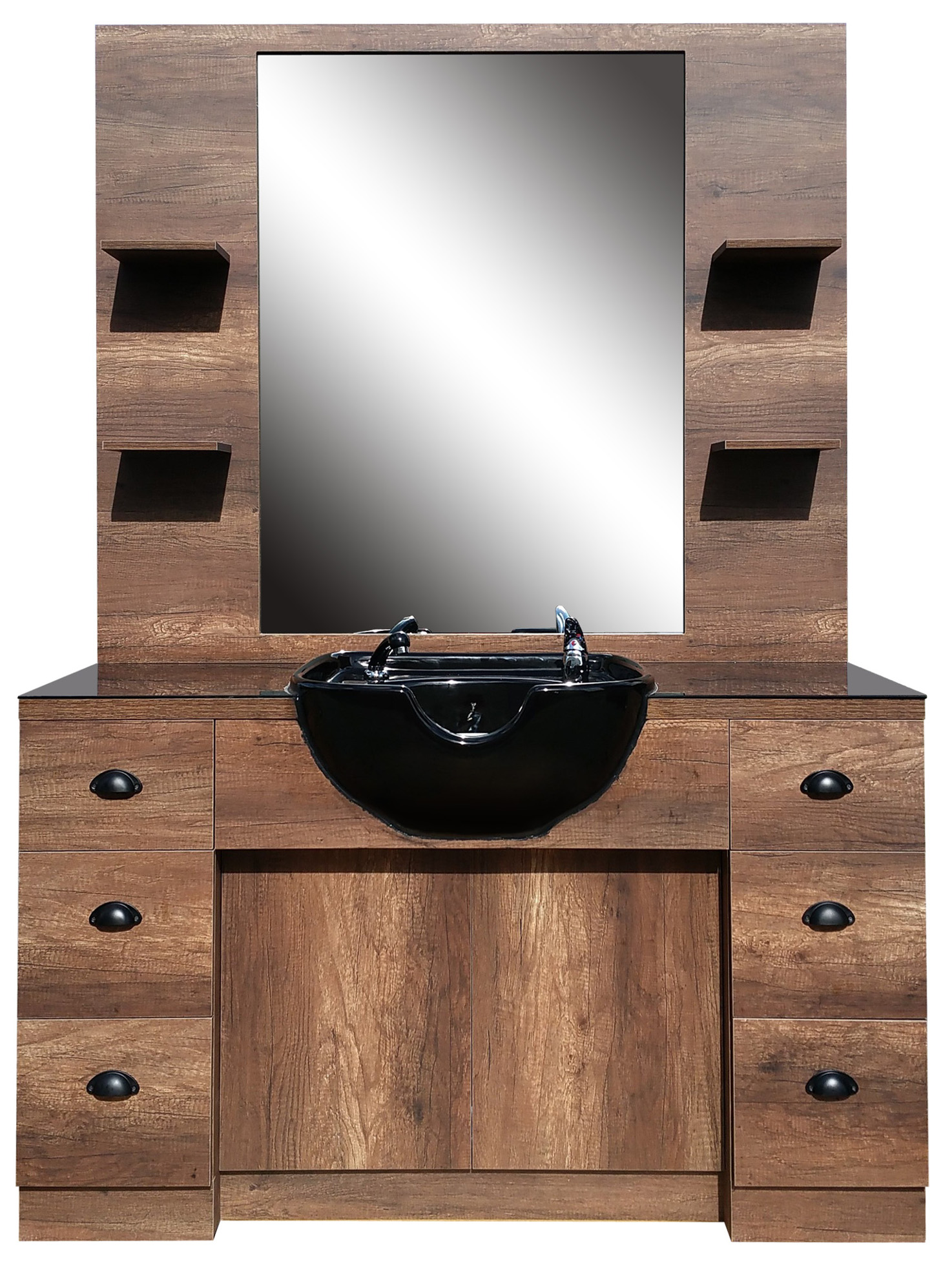 Barber obsluha se zrcadlem a umyvadlem Hairway Barry - hnědá/černá (59222-W50-B) + DÁREK ZDARMA