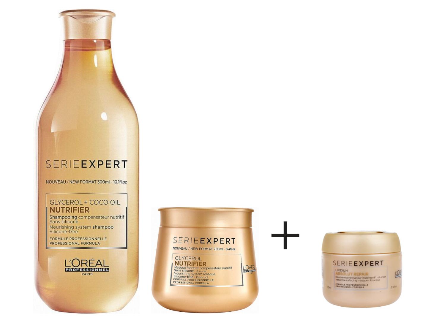 Sada pro suché vlasy Loréal Nutrifier + maska Absolut Repair Lipidium 75 ml zdarma + DÁREK ZDARMA