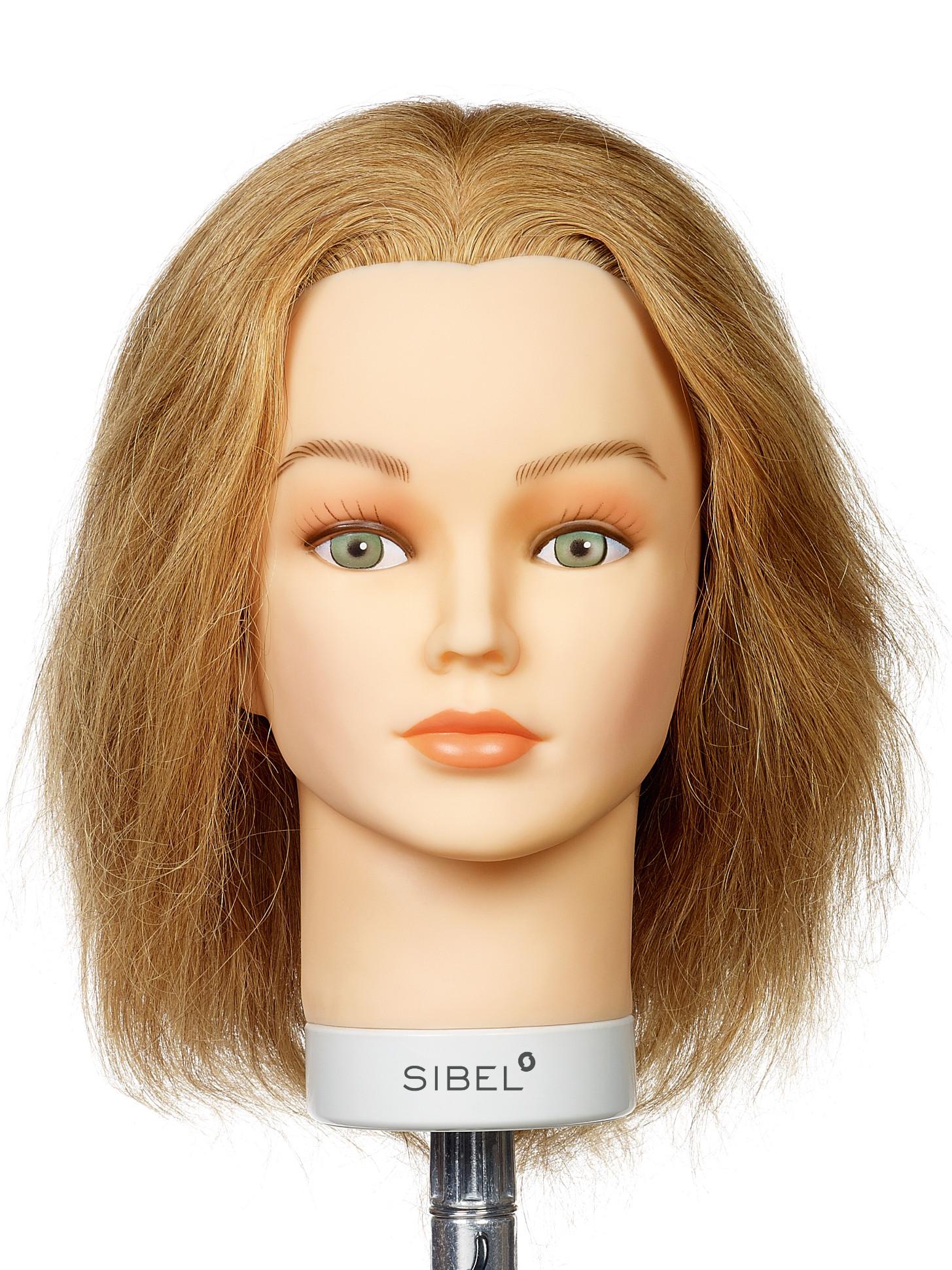Cvičná hlava s přírodními vlasy Chiara Sibel - světle hnědé 15 - 25 cm (0030661) + DÁREK ZDARMA