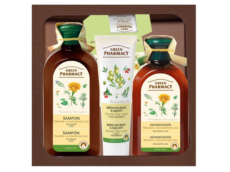 Dárková sada pro mastné vlasy s rozmarýnovým olejem Green Pharmacy + DÁREK ZDARMA