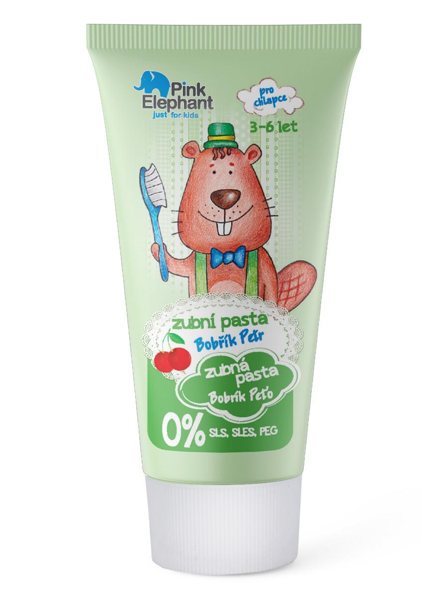 Dětská zubní pasta s příchutí třešně Pink Elephant Bobřík Petr - 50 ml