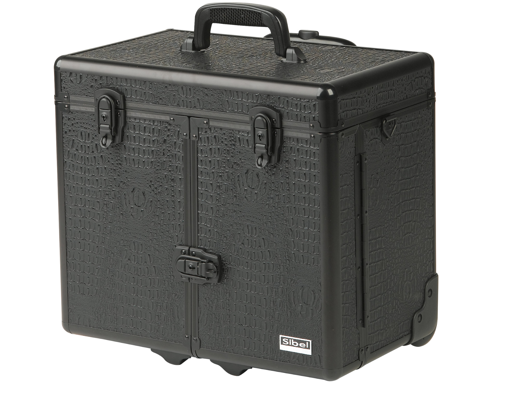Kadeřnický a kosmetický kufr na kolečkách Sibel Windows - černý (0150662) + DÁREK ZDARMA