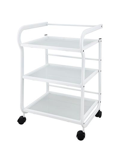 Kosmetický vozík na kolečkách se 3 policemi Weelko Help, bílý (1013) + DÁREK ZDARMA