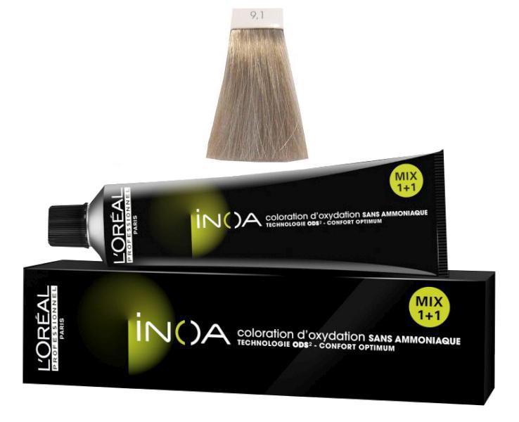 Loréal Inoa 2 barva na vlasy 60 g - odstín 9,1 blond velmi světlá popelavá