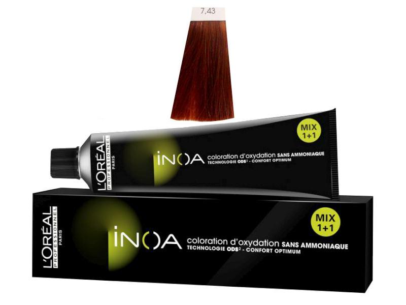 Loréal Inoa 2 barva na vlasy 60 g - odstín 7,43 blond měděná zlatá + DÁREK ZDARMA
