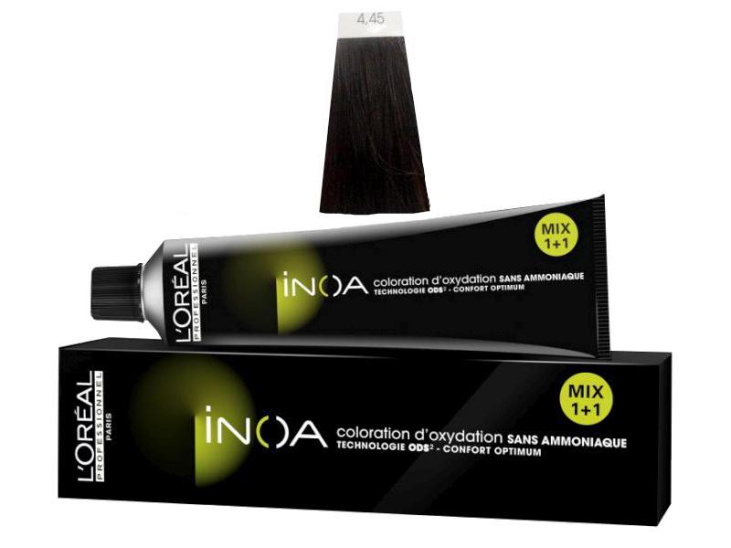 Loréal Inoa 2 barva na vlasy 60 g - odstín 4,45 hnědá měděná mahagonová + DÁREK ZDARMA