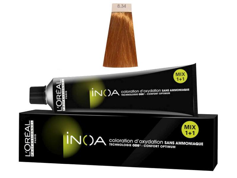 Loréal Inoa 2 barva na vlasy 60 g - odstín 8,34 blond světlá zlatá měděná