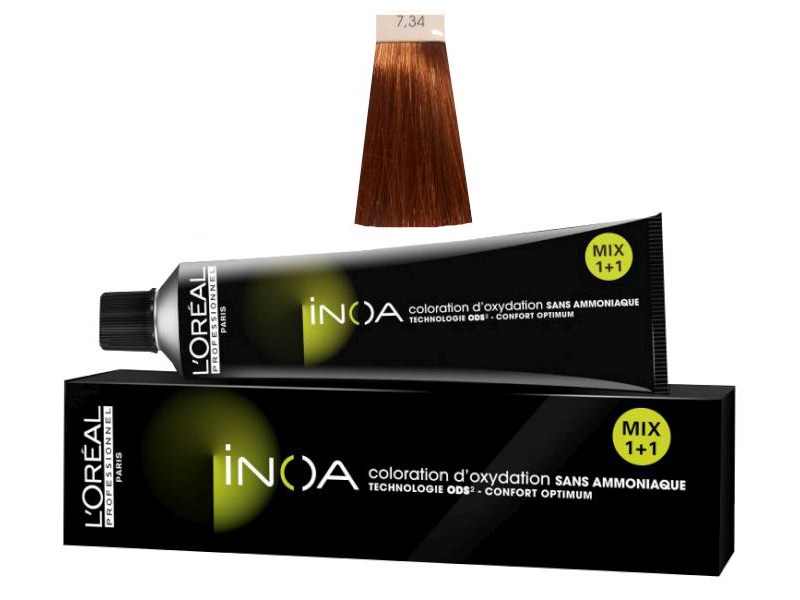 Loréal Inoa 2 barva na vlasy 60 g - odstín 7,34 blond zlatá měděná + DÁREK ZDARMA