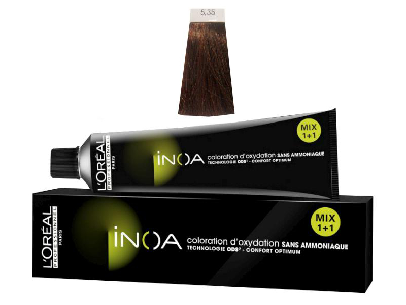 Loréal Inoa 2 barva na vlasy 60 g - odstín 5,35 hnědá světlá zlatá mahagonová