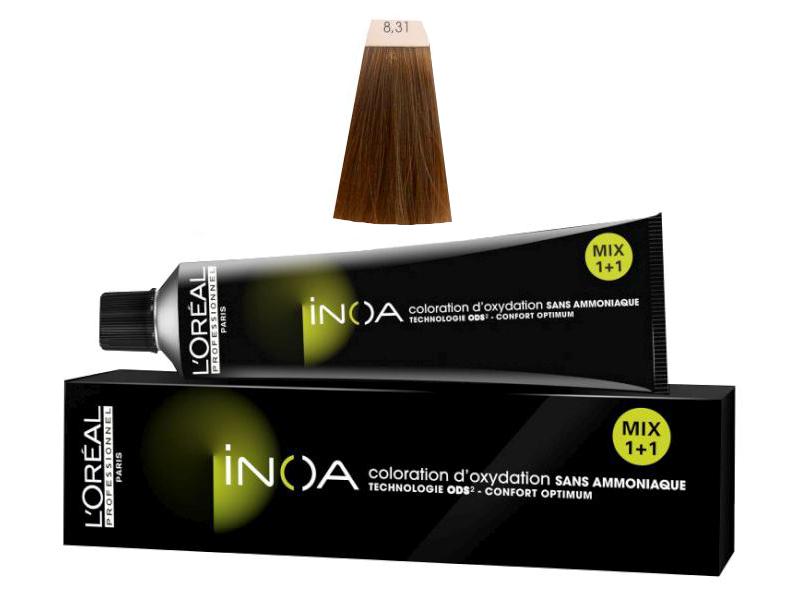 Loréal Inoa 2 barva na vlasy 60 g - odstín 8,31 blond světlá zlatá popelavá + DÁREK ZDARMA