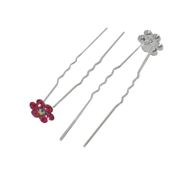 Svatební vlásenka s kamínky ve tvaru kytičky 20ks - růžová