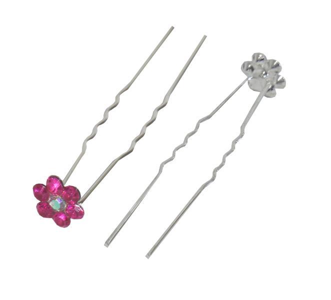 Svatební vlásenka s kamínky ve tvaru kytičky 20ks - tmavě růžová