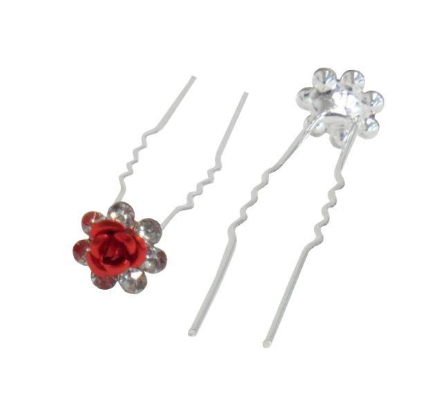 Svatební vlásenka růžička s kamínky 20ks - červená