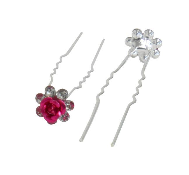Svatební vlásenka růžička s kamínky 20ks - růžová