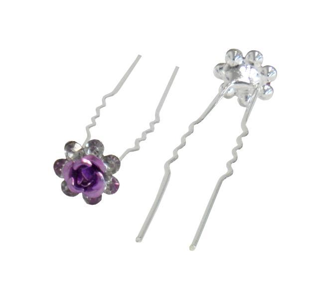 Svatební vlásenka růžička s kamínky 19ks - fialová