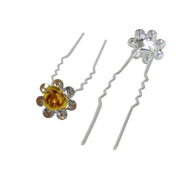 Svatební vlásenka růžička s kamínky 20ks - zlatá