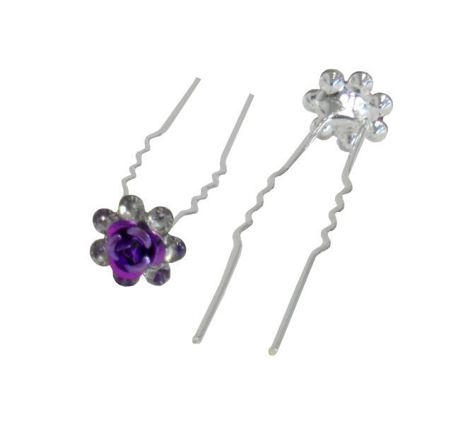 Svatební vlásenka růžička s kamínky 20ks - fialová