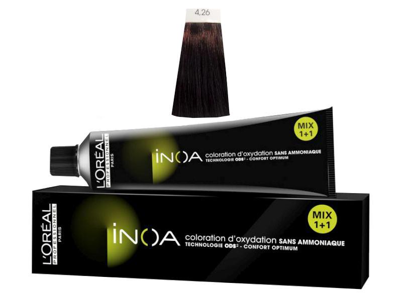 Loréal Inoa 2 barva na vlasy 60 g - odstín 4,26 hnědá duhová červená + DÁREK ZDARMA