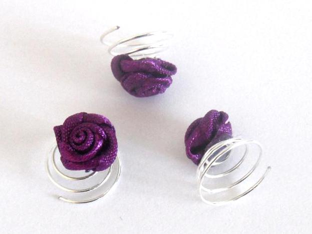 Spirálka do vlasů růžička - fialová, 1ks