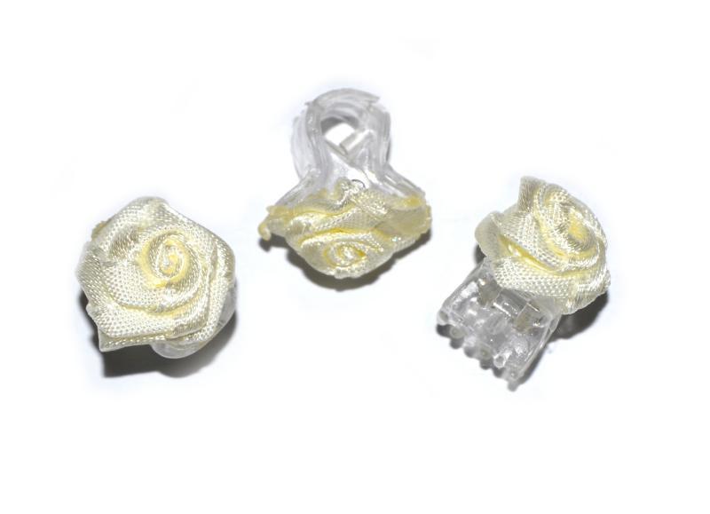 Skřipec do vlasů růžička - světle žlutá, 1ks