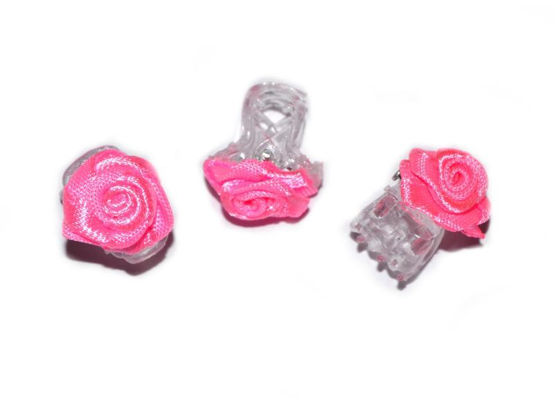Skřipec do vlasů růžička - růžová, 1ks