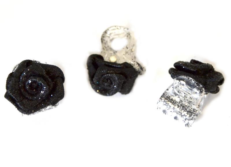 Skřipec do vlasů růžička - černá s třpytkami, 1ks