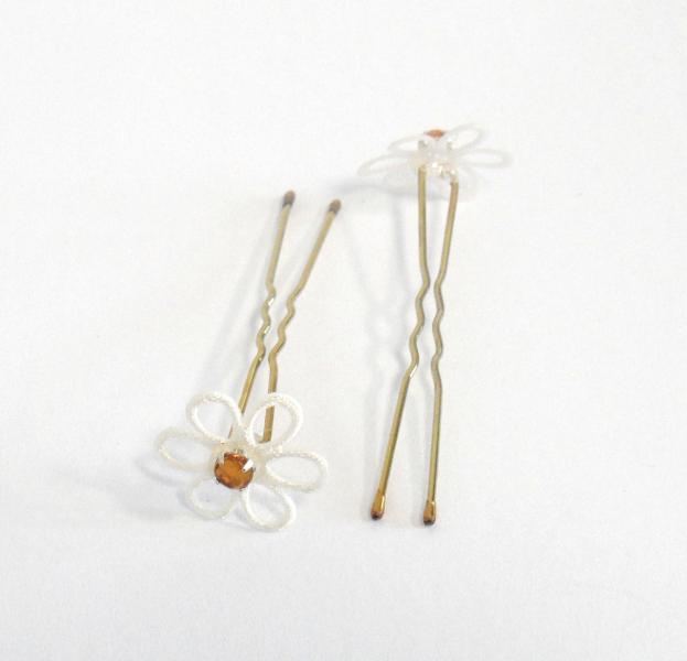 Vlásenka s kytičkou a žlutým kamínkem - bílá/zlatá