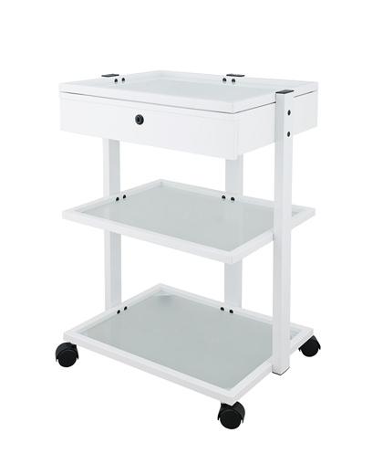 Kosmetický stolek na kolečkách Weelko FACILE + - 2 police, bílý (1040A) + DÁREK ZDARMA